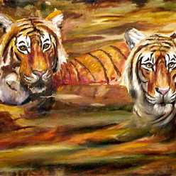 Tigers in the WaterOil on Canvas